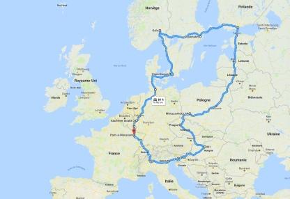 Tracé de mon Europe Tour 2018