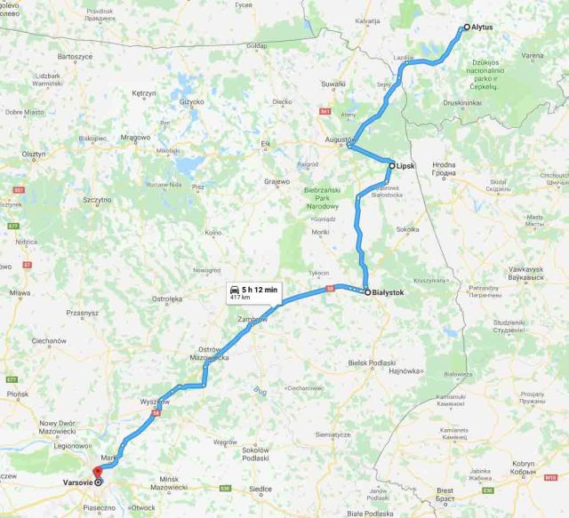 Alytus-Bialystok-Varsovie